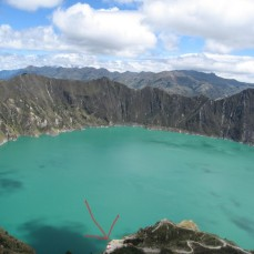 Quilotoa, Ecuador - Arrow shows the destination of the hike from the viewpoint. (Traveltinerary)