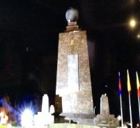 Quito, Ecuador - Mitad del Mundo monument at night (Traveltinerary)