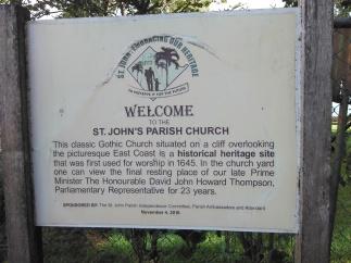 Welcome sign to St. John's Parish Church (Traveltineraries)