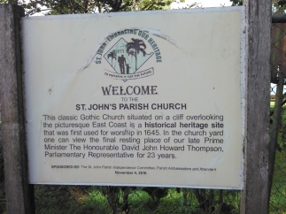 Welcome sign to St. John's Parish Church (Traveltineraries)